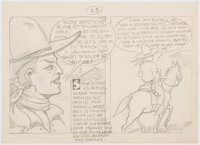 Edgar Church U.S. Marchel Steve Dimond (sic) Preliminary Comics-Panel Design Original Art (c. 1940s)