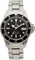 "Timepieces:Wristwatch, Rolex, Ref. 1680 ""Red"" Submariner, Mark IV Dial Feet First, Stainless Steel, Circa 1973. ..."