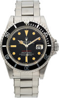 Timepieces:Wristwatch, Rolex, Ref. 1680 Red Submariner, Mark V Feet First Dial, Oyster Perpetual Date, Circa 1973. ...