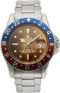 Timepieces:Wristwatch, Rolex, Outstanding GMT-Master Ref. 1675, Pointed Crown Guard, Tropical Gilt Dial, Full Set, Original John Bull Sales Receipt,...