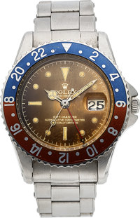 Rolex, Outstanding GMT-Master Ref. 1675, Pointed Crown Guard, Tropical Gilt Dial, Full Set, Original John Bull Sales Rec...