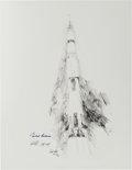 """Explorers:Space Exploration, Apollo 11: Paul Calle Signed Limited Edition, #AP 24/25, """"Apollo XI Liftoff"""" Print, also Signed by Michael Collins...."""