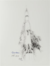 """Apollo 11: Paul Calle Signed Limited Edition, #AP 24/25, """"Apollo XI Liftoff"""" Print, also Signed by Michael Col..."""