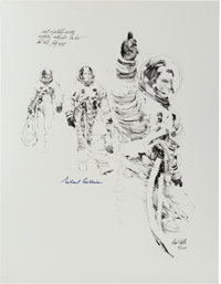"""Apollo 11: Paul Calle Signed Limited Edition, #41/250, """"Thumbs Up"""" Print, also Signed by Michael Collins"""