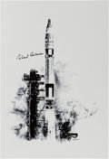 "Explorers:Space Exploration, Gemini 10: Paul Calle Limited Edition, #28/250, ""Gemini 10 Launch"" Print, Signed by Michael Collins...."