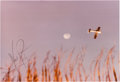 Explorers:Space Exploration, Neil Armstrong Signed Color Photo of an Airplane Flying Past the Moon with Interesting Provenance. ...