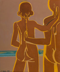 Françoise Gilot (b. 1921) Couple by the Sea, 1976 Oil on canvas 18-1/4 x 15 inches (46.4 x 38.1 cm) Signed and da...