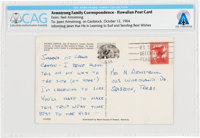 Neil Armstrong Handwritten 1964 Postcard to His Wife Janet Directly from The Armstrong Family Collection™, CAG Certified...