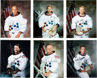 NASA Space Shuttle Astronauts: Group of Six Signed White Spacesuit Color Photos
