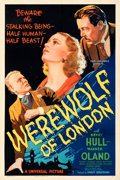 "Movie Posters:Horror, Werewolf of London (Universal, 1935). Very Fine- on Linen. One Sheet (27"" X 41"") Style C.. ..."
