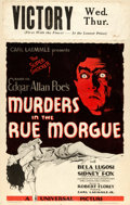 "Movie Posters:Horror, Murders in the Rue Morgue (Universal, 1932). Very Fine. Window Card (14"" X 22"") Karoly Grosz Artwork.. ..."