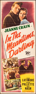 """In the Meantime, Darling (20th Century Fox, 1944). Folded, Fine+. Insert (14"""" X 36""""). Comedy"""