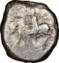 Ancients: CILICIA. Tarsus. Ca. late 5th century BC. AR stater (22mm, 10.40 gm, 11h). NGC Choice Fine 3/5 - 2/5, test cut...