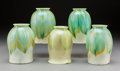 Glass, Five Tiffany Studios Favrile Feather-Pull Glass Shades, circa 1910. Marks: L. C. Tiffany, Favrile. 5-1/8 x 3-7/8 x 3-7/8... (Total: 5 Items)