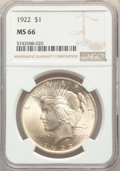 Peace Dollars: , 1922 $1 MS66 NGC. NGC Census: (1462/40). PCGS Population: (870/36). MS66. Mintage 51,737,000. ...