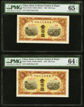World Currency, China Bank of Shansi Chahar & Hopei 100 Yuan 1945 Pick S3182 S/M#C168-82 Two Consecutive Examples PMG Gem Uncirculated 65 ... (Total: 2 notes)