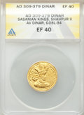 Ancients: SASANIAN KINGDOM. Shahpur (Sabuhr) II (AD 309-379). AV dinar (22mm, 3h). ANACS EF 40