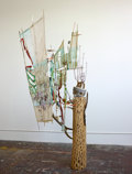 Sculpture, Elliot Hundley (b. 1975). Zephyrus and the Flower of Regret, 2008. Wood, rattan, bamboo, paper, cement, string, wire, pl...