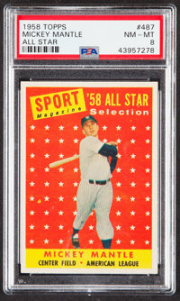 1958 Topps Mickey Mantle All Star #487 PSA NM-MT 8