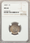 Indian Cents: , 1859 1C MS64 NGC. NGC Census: (492/161). PCGS Population: (764/213). MS64. Mintage 36,400,000. ...