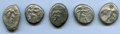 Ancients:Ancient Lots  , Ancients: ANCIENT LOTS. Greek. Pamphylia. Aspendus. Ca. mid-5th century BC. Lot of five (5) AR staters. Fine, test cuts, countermarks.... (Total: 5 coins)