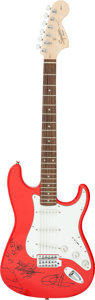 Music Memorabilia:Autographs and Signed Items, Red Hot Chili Peppers Signed Fender Squire Guitar SN #CY180903936 With Wrench and Bar (2019). ...