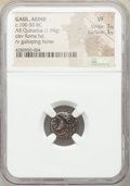 Ancients: GAUL. Aedui. Ca. 100-50 BC. AR quinarius (13mm, 1.94 gm, 6h). NGC VF 3/5 - 3/5