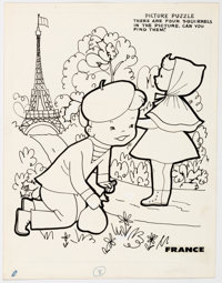 Around the World Activity Book Page 8 and 16 Illustrations Original Art Plus File Copy (Samuel Lowe Company, 1958).... (...