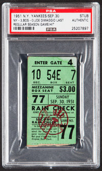 1951 Yankees vs. Red Sox Ticket Stub - Joe DiMaggio's Final Regular Season Game, PSA Authentic