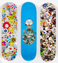 Other:Contemporary, Takashi Murakami X Vans. Vault by Vans, triptych, 2015. Screenprint in colors on skate deck. 32 x 8 inches (81.3 x 20.3 ... (Total: 3 Items)