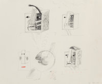 David Hockney (b. 1937) Studies for Picassoid Picassos, 1973 Crayon and ink on paper 14 x 17 inches (35.6 x 43.2 cm)