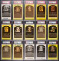 Autographs:Post Cards, Signed Hall of Fame Plaque Postcard Lot of 15, PSA/DNA Authentic....