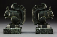Pair of Max Le Verrier Patinated Metal and Marble Squirrel Bookends, circa 1930 Marks: M LeVerrier 5-3/4 ... (Total: 2 I...