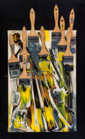 Sculpture, Arman (1928-2005). Untitled, 1997. Sliced violin with brushes and acrylic on canvas. 18 x 12 inches (45.7 x 30.5 cm). Si...