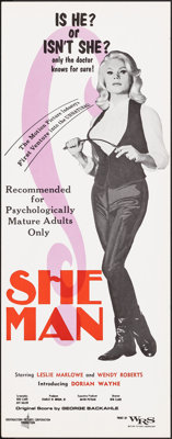 """She-Man (Southeastern Pictures Corporation, 1967). Rolled, Very Fine+. Insert (14"""" X 36""""). Sexploitation"""