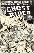 Original Comic Art:Covers, Mike Ploog Marvel Spotlight #9 Cover Ghost Rider Original Art (Marvel, 1973)....