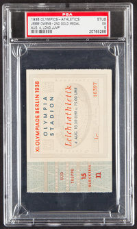 1936 Olympics (Athletics) Ticket Stub, PSA EX 5 - Jesse Owens 2nd Gold Medal
