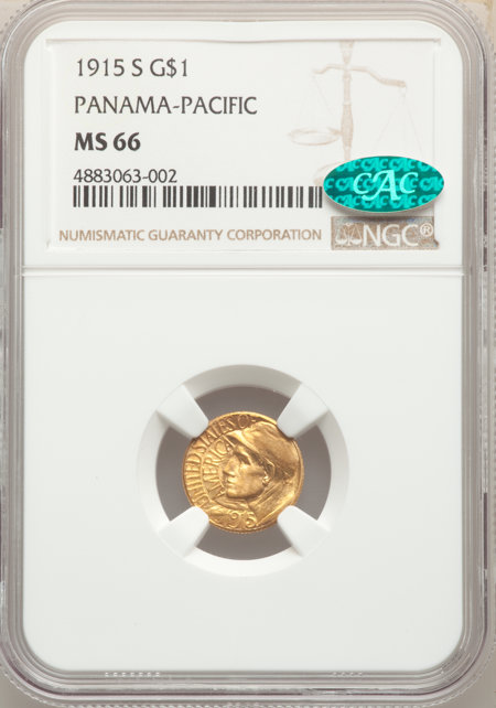 1915-S G$1 PAN-PAC Gold Dollar, MS CAC 66 NGC