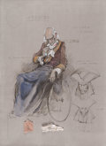 "Movie/TV Memorabilia:Original Art, Amadeus Costume Design Sketch for ""Old Salieri"" Made and Signed by Theodor PiŠtek (1984). ..."