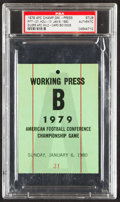 Football Collectibles:Tickets, 1979 AFC Championship Game Press Pass, PSA Authentic - Pop One with None Higher!...