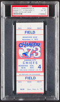 Football Collectibles:Tickets, 1973 Chargers vs. Chiefs Full Ticket, PSA EX-MT 6 - Johnny Unitas' Last Game!...