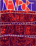 Music Memorabilia:Posters, Bob Dylan 1964 Newport Folk Festival Concert Program & Press Pass...