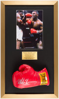 Boxing Collectibles:Autographs, Mike Tyson Signed Boxing Glove Framed Display....