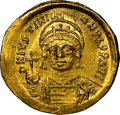 Ancients:Byzantine, Ancients: Justinian I the Great (AD 527-565). AV solidus (20mm, 4.49 gm, 7h). NGC MS 4/5 - 3/5, edge bends, clipped, adjusted flan....