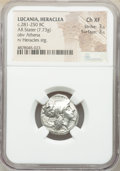 Ancients:Greek, Ancients: LUCANIA. Heraclea. Ca. 281-250 BC. AR stater (20mm, 7.73 gm, 4h). NGC Choice XF 3/5 - 3/5....