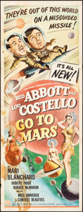 "Movie Posters:Comedy, Abbott and Costello Go to Mars (Universal International, 1953). Folded, Fine-. Insert (14"" X 36""). Comedy.. ..."