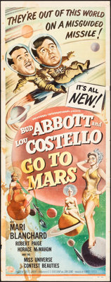 "Abbott and Costello Go to Mars (Universal International, 1953). Folded, Fine-. Insert (14"" X 36""). Comedy"