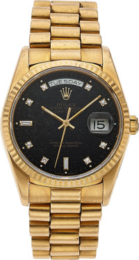 Rolex, Oyster Perpetual Day-Date, Stone Dial, 18k Gold, Ref. 18238, Circa 1993