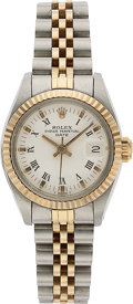 Timepieces:Pocket (pre 1900) , Rolex, Lady's Oyster Perpetual Date, Two Tone, circa 1981. ...