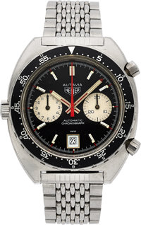 Heuer, Vintage Autavia Ref. 1163V (Viceroy) Automatic Chronograph, Fourth Execution, Stainless Steel, Circa 1972